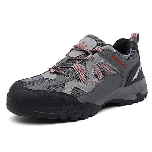 QINGMM stalen teen onverwoestbare werkschoenen, veiligheidstrainers voor mannen, perforatiebewijs lichtgewicht constructie sneakers, slipbestendig