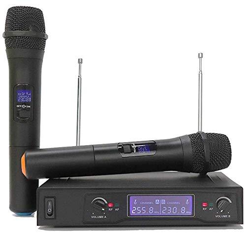 DAETNG Micrófono inalámbrico, Conjunto de micrófono dinámico Profesional Dual con Pantalla LED,...