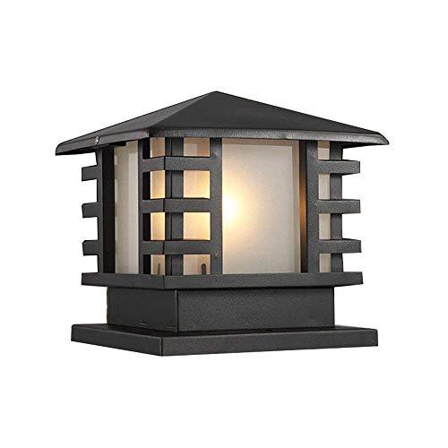 Wasserdicht IP44 Pfostenlichter Außenleuchten Schwarze Aluminium und Glas Retro E27 Gartenlampe Sockelleuchten Pollerlampe im Freien Terrassen Zaun Villa Aussen Beleuchtung 20 * 20*H23 CM