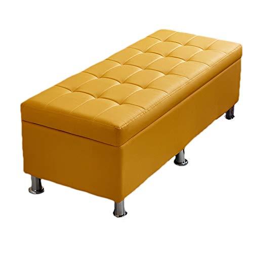 Taburete de almacenamiento de PU otomanos con tapa abatible Banco de zapatos Ropa de cama de madera Manta Contenedor de maletero Caja para sentarse para sala de estar Pasillo Entrada,Amarillo,90cm