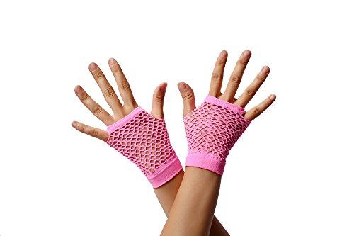 Dress ME UP - RH-005-pink Guantes de Red Rosas Pink sin Dedos Cortos los años 80 Punk rockero Wave gótico EMO