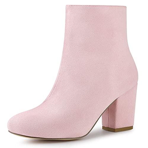 Allegra K Women Round Toe Side Zipper Block Heel Dust Pink Ankle Boots 8 M US