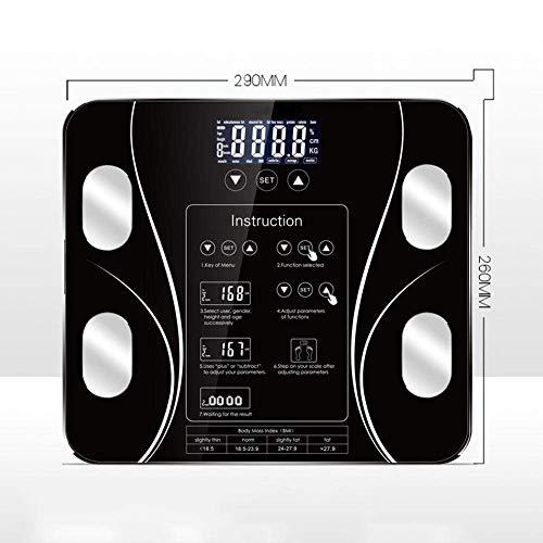 BINGFANG-W Balanza Báscula Cuerpo, balanzas electrónicas, Pantalla LCD Digital, con un Peso Corporal Escala de Peso Corporal Digital, 180Kg, Negro Cocina