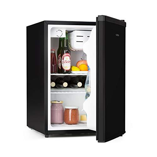 Klarstein Cool Kid – nevera para bebidas, mininevera, minibar, 66 litros de volumen, clase F, 109 kWh/año, aislada, 45 x 63 x 51 cm, 42db, acero inoxidable, negro