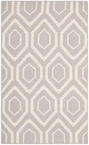 Safavieh Dhurrie Teppich, DHU556, Flachgewebter Wolle und Baumwolle, Grau / Elfenbein, 76 x 121 cm