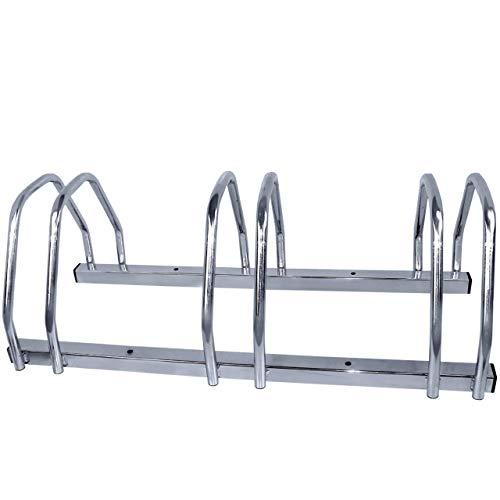 Walter Fahrradständer 3-Fach, Für 3 Fahrräder, Boden- oder Wandmontage, Mehrfachständer, beidseitig verwendbar, Metall, Silber