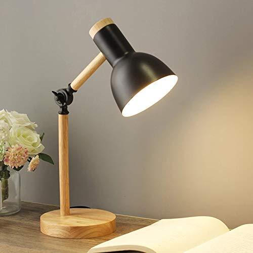 Mengjay Lámpara de escritorio clásica Lámpara de lectura LED en madera clásica, Lámpara de mesa vintage E27 Lámpara de trabajo ajustable, para lámpara de oficina, Lámpara de noche para dormitorio.