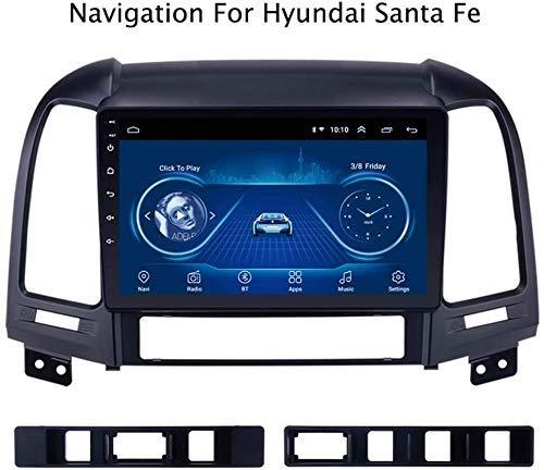 QXHELI Navigationsgerät Car Multimedia Radio Stereo GPS Navigation HD Touch Screen Bluetooth Doppel-DIN-Freisprechfunktionen DAB USB SWC WiFi Für Hyundai Santa Fe 2005-2012