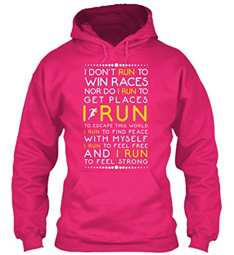 I Don't Run to Win Races Nor Do I Run to Get Places - Medium (M) - Heliconia Sweatshirt - Gildan 8oz Heavy Blend Hoodie