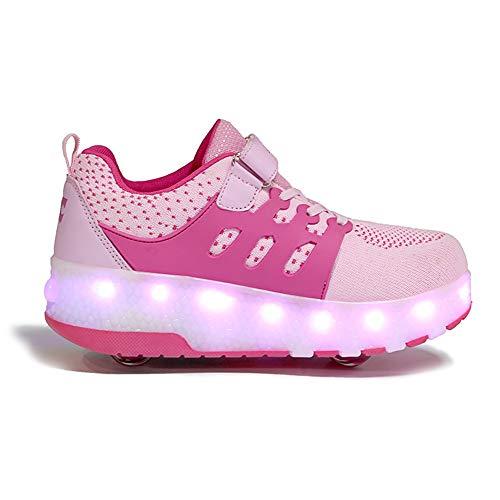 WXBYDX Kinder Mode LED Rollenschuhe Mit Rollen Lichter Blinken USB Aufladbare Rollschuh Unisex Skates Schuhe Atmungsaktiv Mesh Sneaker Outdoor-Sportarten Skateboardschuhe,Größe (28-40) Pink-31