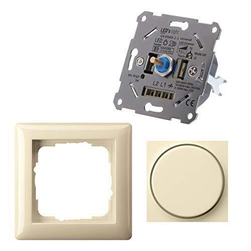 Regulador universal para lámparas regulables como set completo con Gira S.55 blanco crema brillante. 3-150 W LED/10-400 W Hal./incand. Regulación corte de fase inicial y final. Garras de fijación