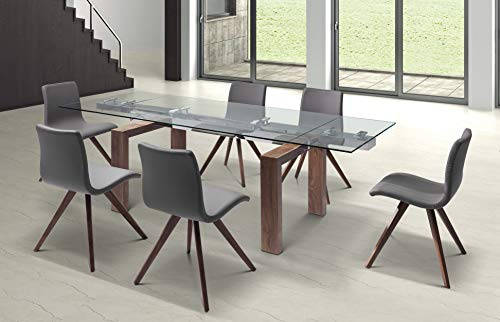 Whiteline Contemporary Modern Davy Extendable Dining Table with 1/2 Tempered Glass Top and Solid Wood Base, Walnut