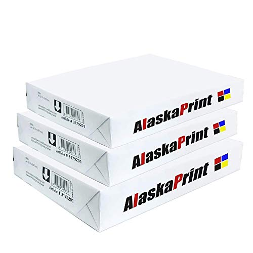 Alaskaprint 1500 Druckerpapier A4 DIN Weiß Kopierpapier A4 1500 Blatt Multifunktionspapier, Laserpapier, Universalpapier, Fotokopierpapier für alle Drucker