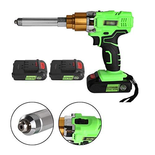 Pistola de Remaches Eléctrica, 26V 3000Mah Carga Inalámbrica Portátil Pistola de Remaches Ciega con Luces Led,Two Batteries