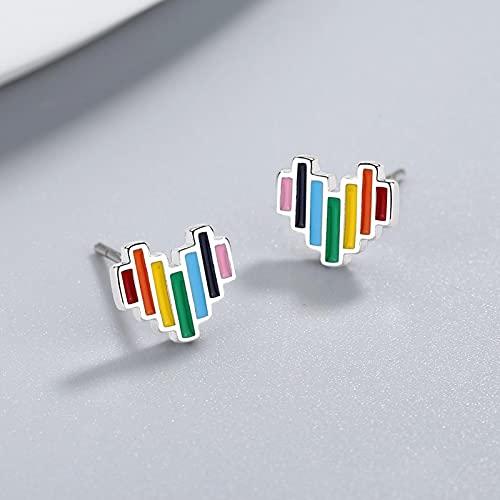 HCMA Pendientes de botón de corazón de Arco Iris Lindo de Plata de Ley 925 para Regalos de joyería de niña Adolescente Amiga Chico Dama