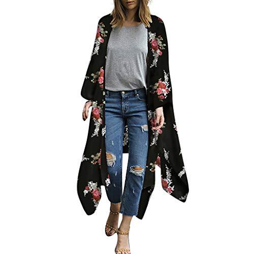 Aiserkly Mode Damen Chiffon Schal Print Kimono Cardigan Top Cover Up Bluse Beachwear