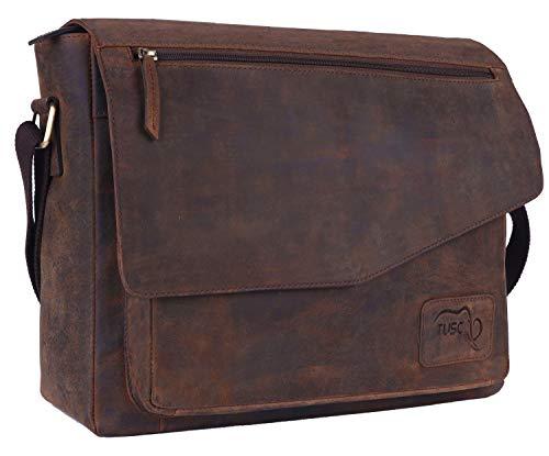 TUSC Triton Braun Leder Tasche Laptoptasche bis 17 Zoll Herren Umhangetasche Aktentasche Schultertasche fur Buro Notebook Messenger Bag Laptop iPad Grose 41x31x12 cm