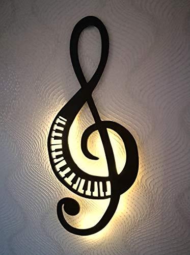 Wanddeko Notenschlüssel Note mit Klaviertasten Klavier Holz mit Led Licht, 60cm, Wanddekoration Wand Deko 3D Wandbild, Groß, Schwarz, Modern