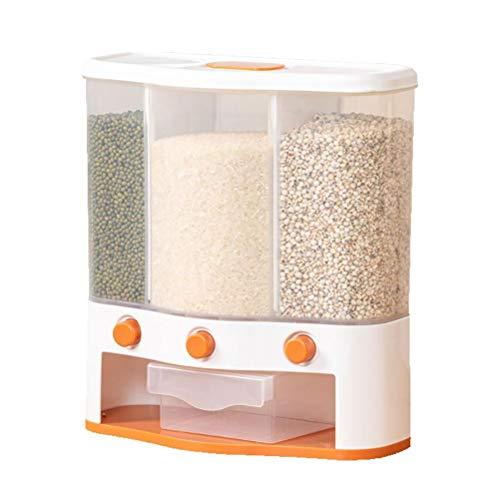 HUSHUI Recipiente de Almacenamiento de Cereales, Tanque de Almacenamiento de Granos montado en la Pared, dispensador de Alimentos Secos, Cubo de arroz, Caja de Almacenamiento para Granos