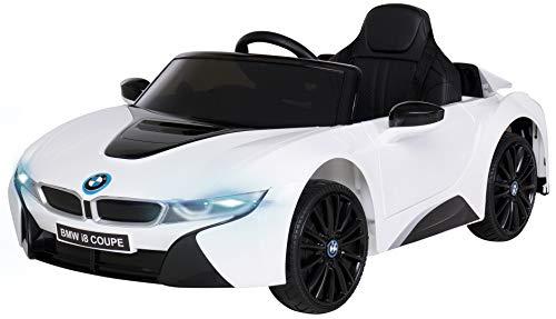 Actionbikes Motors Kinder Elektroauto BMW i8 - Lizenziert - 2 x 25 Watt Motor - Eva Weichgummireifen - 2,4 Ghz Fernbedienung (Weiß I12)