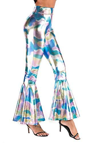 Calça legging feminina ZFCGEE estampada brilhante, sexy, slim, justa, com parte inferior de sino, elástica, camuflagem, calça de ioga, Colorful, XX-Large