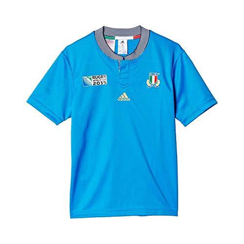YB RWC I H JSY BLE–Trikot Rugby Italien Jungen Adidas 15-16 A blau