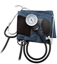 ADC Prosphyg 790 Manual Home Blood Pressure Kit with Attached Stethoscope, Self-Adjusting Small Adult Navy Cuff, and Black Carrying Case
