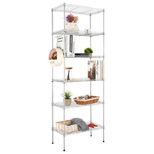 Devo Estantería de Metal para Cocina con 5 estantes, Altura Ajustable, Estante, estantería de baño (Plateado)