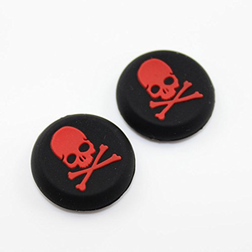 Thumbstick Thumb Grip Stick Silicone Cap Cover Joystick Grips for PS4 PS3 PS2 PS4 Pro Slim Xbox One Xbox One Slim Xbox One Elite Xbox 360 Controller Red Skull Color