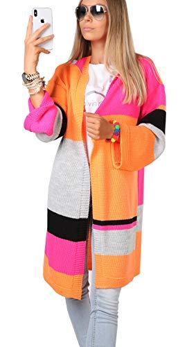 Mikos* Damen Frauen Strickjacke Pullover Cardigan Mantel Long Lang Kapuze Neon Farben (681)