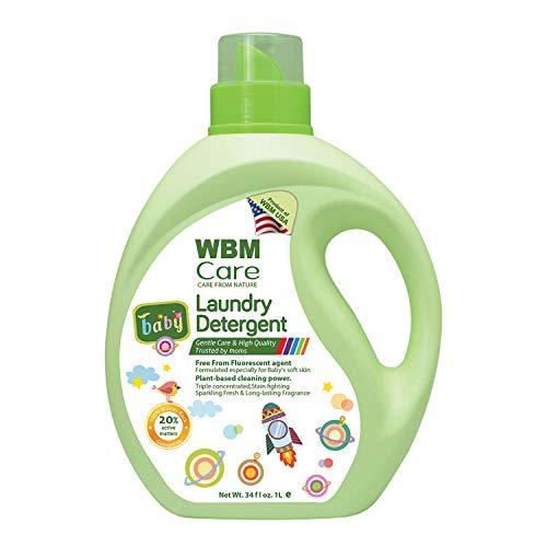 WBM Baby Care Hypoallergenic Liquid Baby Laundry Detergent, Plant Based Laundry Detergent Liquid, Free From Flourscent   34 Oz