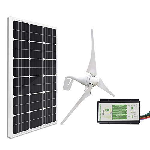 ECO-WORTHY 12 V/24 V 600 W Wind – Solar Hybrid Kit: 400 W Windturbinen-Generator & 2 x 100 W Mono Solarpanels & Wind-Solar Hybrid Laderegler, 500 W (400 W Wind+100 W Solar)