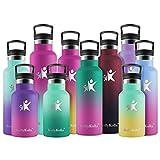 KollyKolla Botella de Agua Acero Inoxidable, Termo Sin BPA Ecológica Reutilizable, Botella Termica con Pajita y Filtro, para Niños & Adultos, Deporte, Oficina (350ml Esmeralda + Rosa Barbie)