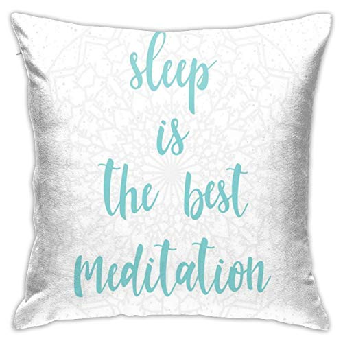 "GULTMEE Modern Throw Pillow Cushion Cover,Sleep is The Best Meditation Calligraphy with A Soft Mandala Motif Background,Decorative Square Accent Pillow Case,20"" X 20"""