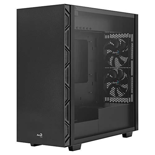 Aerocool Flo, PC-behuizing, 5 ventilatoren 12 cm, gehard glas, rooster, zwart