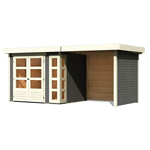 Woodfeeling 19 mm Gartenhaus Kerko-3 (terragrau 240 cm Schleppdach mit Rück- und Seitenwand)