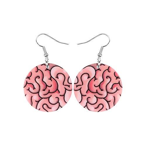 Zombie Brains rosa impreso acrílico truco o tratar terrorismo Halloween pendientes de gota