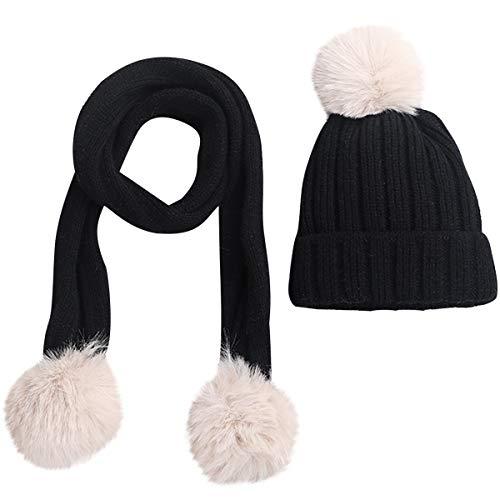 Warmer Infant Baby Beanie Hat Bufanda Set Winter Pom Pom Balls Pañuelo para El Cuello para Niños Pequeños Niñas
