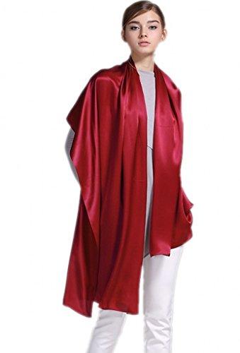 prettystern 200cm crepe satin schwere Seide langer Seiden-Schal in Unifarbe für Abendkleid oder Business - chinesisch Rot