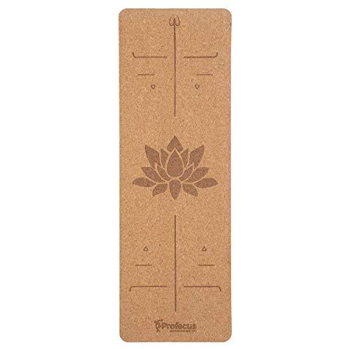 Profecus - Esterilla de yoga de corcho natural, respetuosa con el medio ambiente, con correa de transporte, para yoga, pilates, fitness, tamaño 184 cm - 61 cm - 6 mm.
