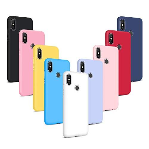 9X Fundas para Xiaomi Redmi Note 6 Pro, Carcasas Flexible Suave TPU Silicona Ultra Delgado Protección Caso(Rojo + Rosa Claro + Púrpura + Amarillo + Rosa Oscuro + Cielo Azul + Negro + Azul Oscuro)