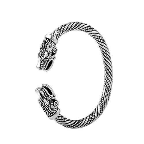 Brazalete de metal con cabeza de dragón vikingo y nudo celta irlandés, con rosca, de plata envejecida