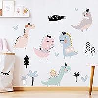 ウォールステッカー壁画、漫画恐竜ウォールステッカー、子供部屋の保育園の装飾用ビニールリムーバブルベッドルーン家具デカール壁画の家の装飾、寝室の男の子用、保育園の壁の装飾