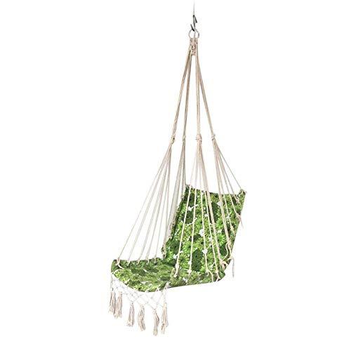 L.BAN Swing Indoor Slide Hanging Chair, Hamac with Cover Seat Hamac Hanging Chair Swing Premium Durable Tassel Hanging Chair Balcony Backyard Canvas Macrame Hanging Chair Portable Garden Swing