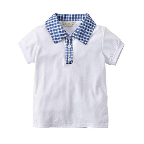 LvRao Baby-Jungen T-Shirt mit Revers Kariert Kurzarm Kinderhemd Sommer Oberteile Freizeit Poloshirt Blouson (Weiß, 5T)