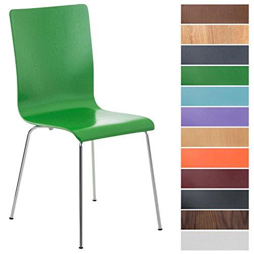 CLP Wartezimmerstuhl Pepe mit ergonomisch geformten Holzsitz und Metallgestell I Konferenzstuhl I erhältlich Grün
