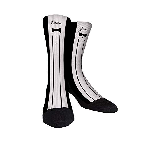 The Groom Best Man Groomsmen Novelty Funny, Large, Just Sockz Unisex Casual Crew Socks