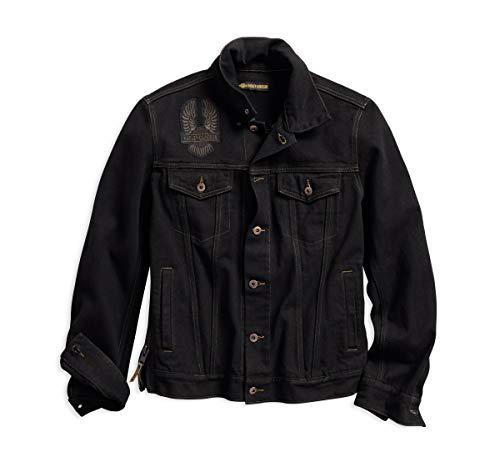 HARLEY-DAVIDSON Men's Eagle Appliqué Slim Fit Denim Jacket, Black