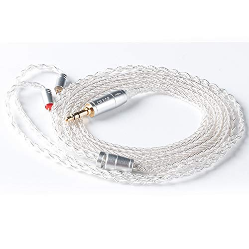 KBEAR 8 Core Upgrade 2 Pin Earphone Cable, HiFi in Ear Monitor Replacement TRS Cable Silver Plated Copper Extension Cable