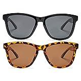 Polarized Sunglasses for Women Men Lightweight Square Glasses UV Protection (Black + Tortoise/Brown)